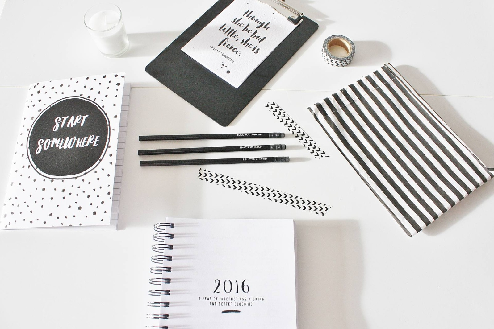 Monochrome Desk Essentials