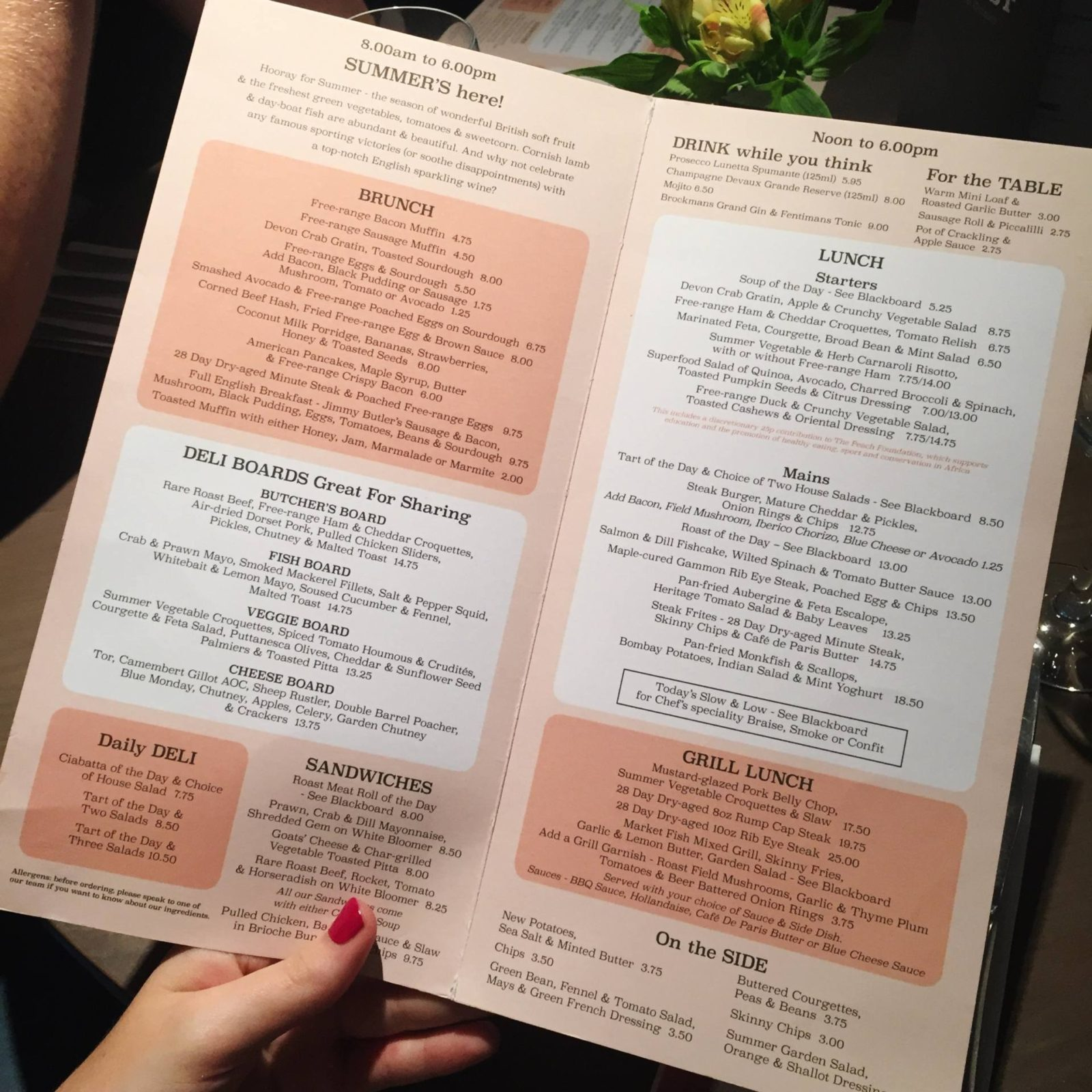 The Almanack Kenilworth Menu