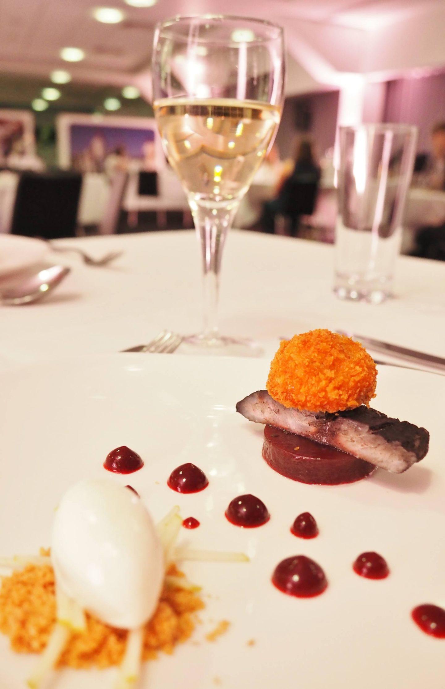Emma Victoria Stokes Elegant Eat Fine Dining Edgbaston Cricket Ground Stone Bass Marinated In Squid Ink