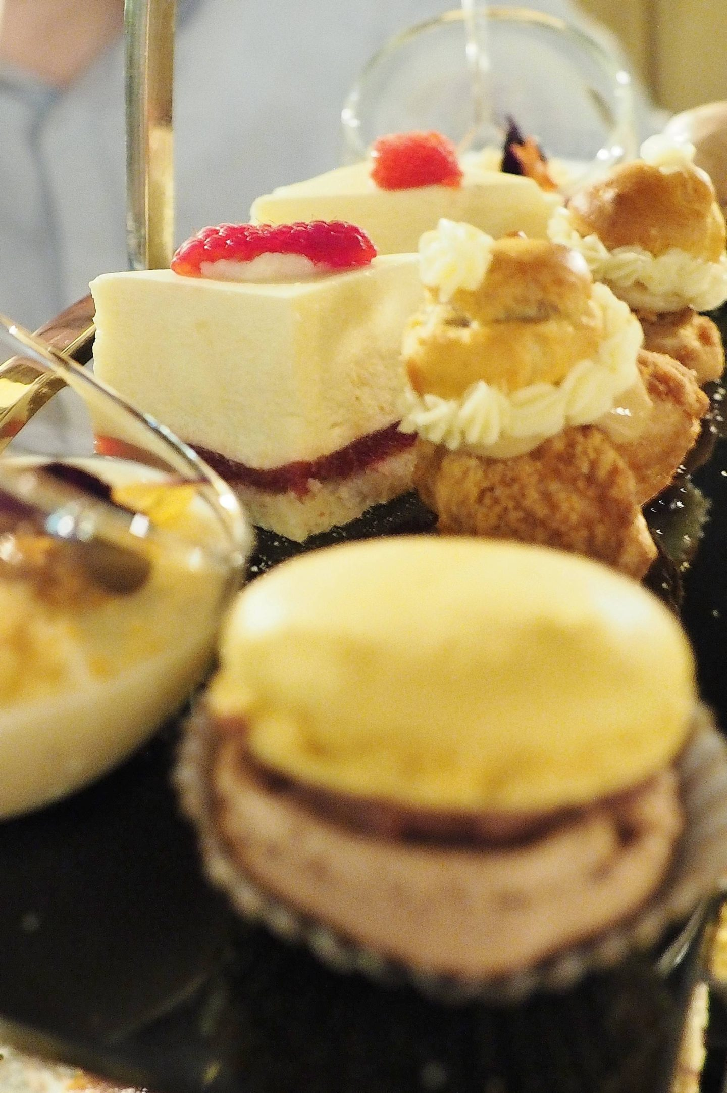 Emma Victoria Stokes Edgbaston Boutique Afternoon Tea Ginger valrhona dark chocolate macaroon Rhubarb and vanilla panna cotta passion fruit and raspberry delice coffee and caramel profiteroles