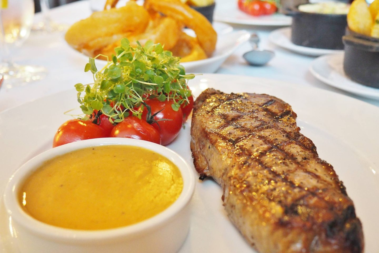 Emma Victoria Stokes Hotel La Tour Sirloin Steak Chips Onion Rings