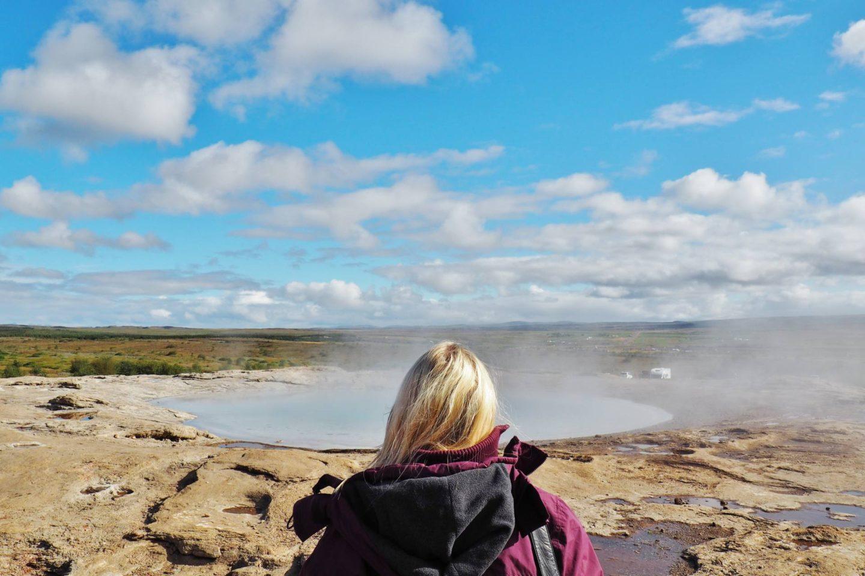 Emma Victoria Stokes Iceland Reykjavik Mountain View Gullfoss Golden Circle Tour Geysir Pose