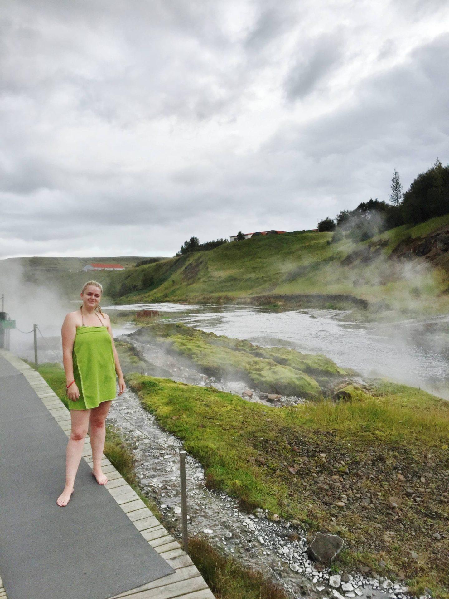 Emma Victoria Stokes Reykjavik Iceland Secret Lagoon Pose