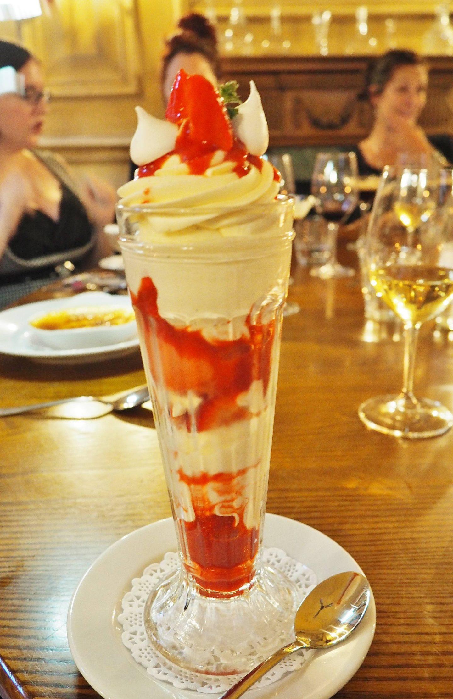 STRAWBERRY VACHERIN SUNDAE £6.50 Scottish strawberries, vanilla ice cream, strawberry sorbet garnished with Chantilly cream with crisp meringue