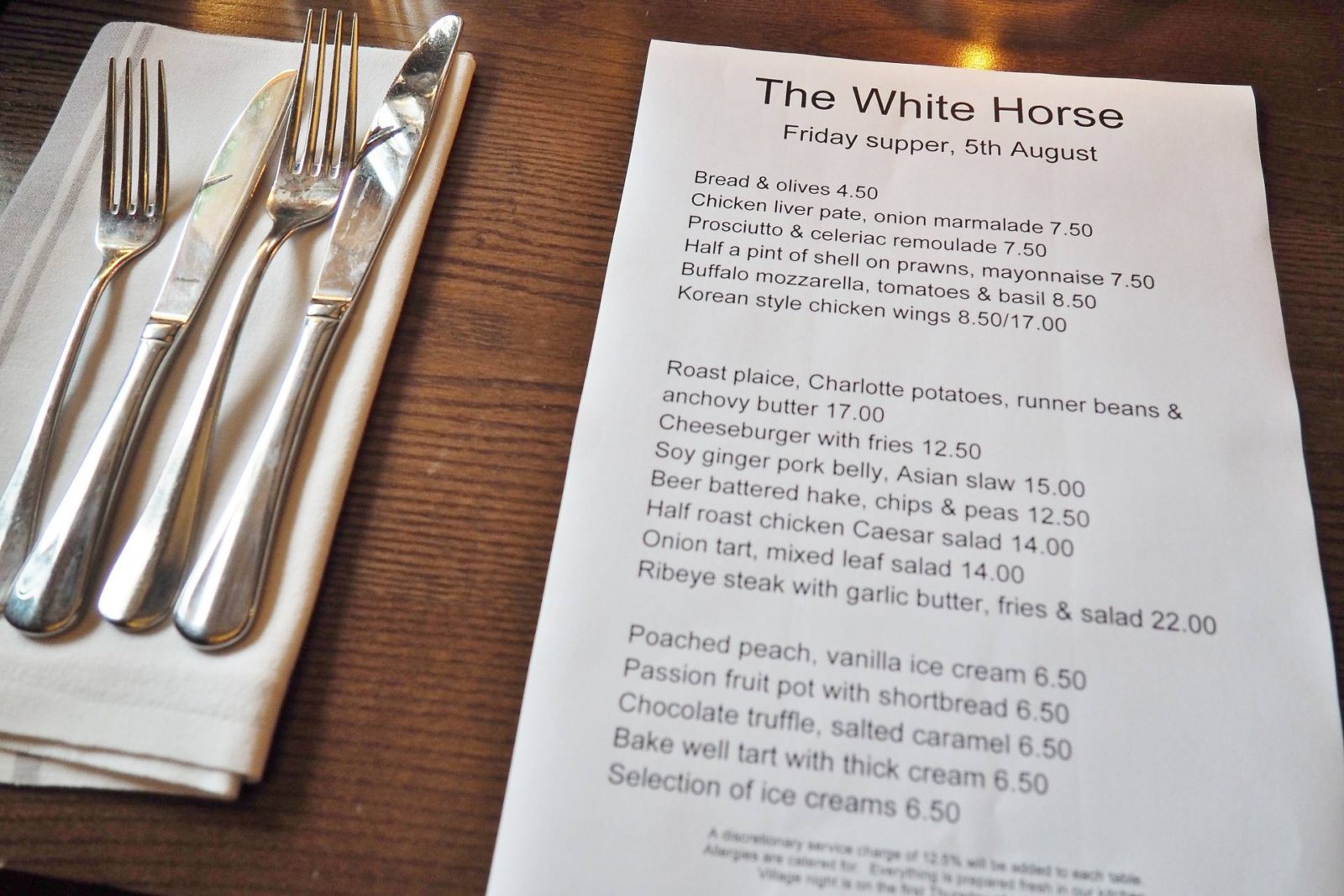 The White Horse Duns Tew Menu