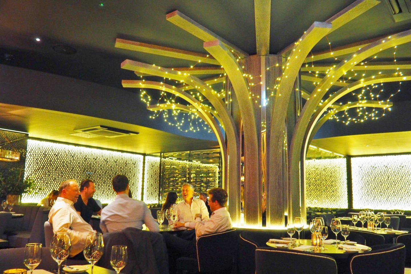 Emma Victoria Stokes Gaucho Birmingham Argentinian Steak Restaurant Tree Lights Interior
