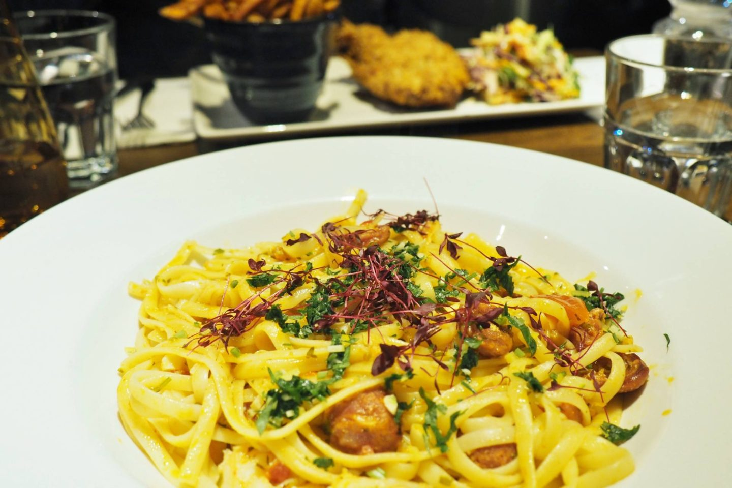 King prawn, crab and chorizo linguine The White Swan Edgbaston