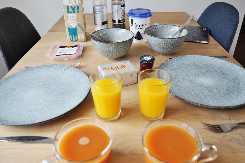 Emma Victoria Stokes Reykjavik Iceland Thomsen Residence Apartments Airbnb Breakfast Orange Juice
