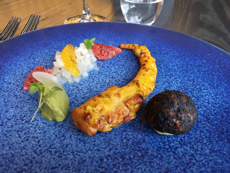Opheem Starters SAMUDRAPHENI Maharashtra (D) £11.90 Octopus, tandoori spices, pickled mooli, citrus.