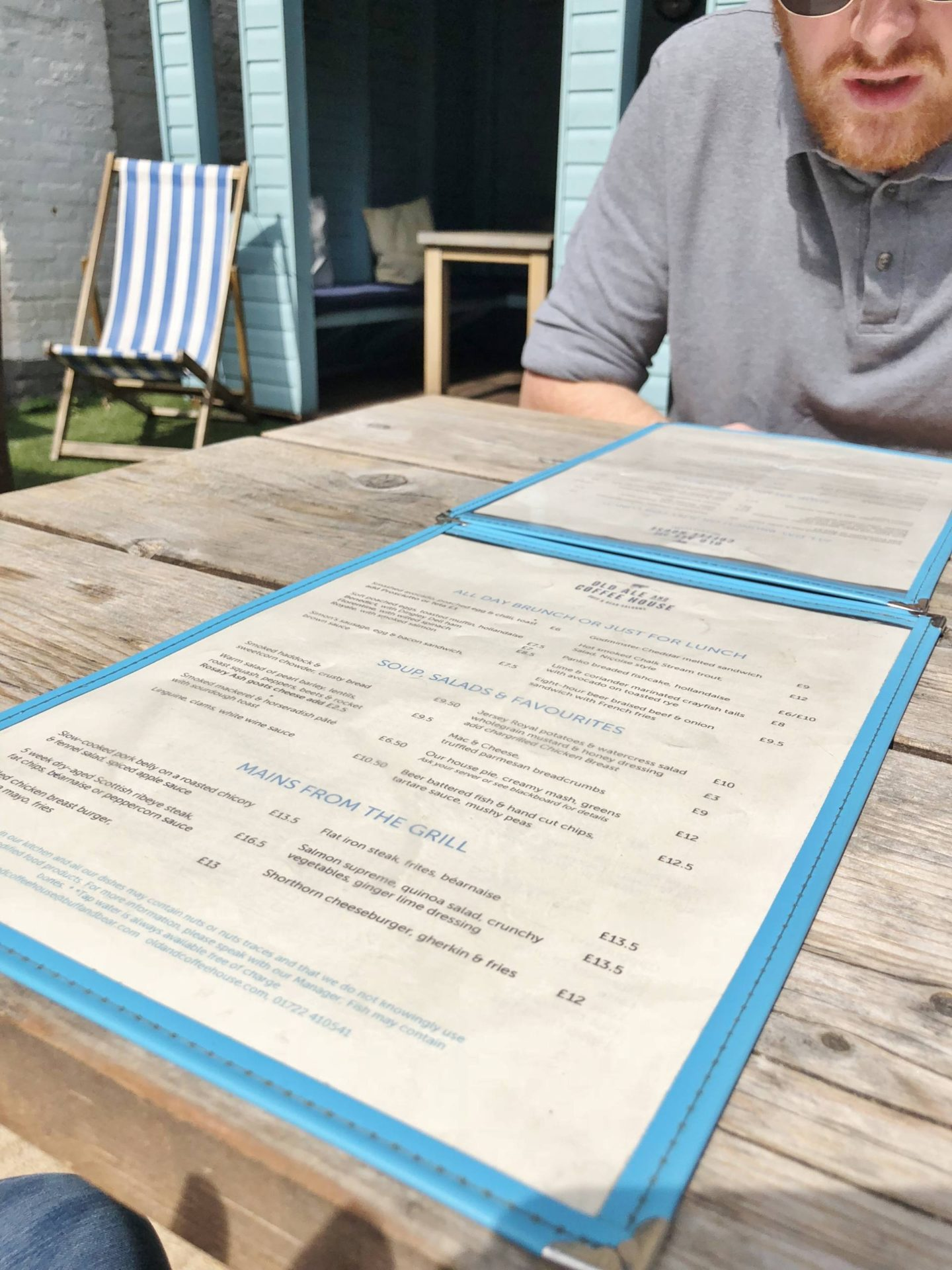 Old Ale and Coffee House Salisbury Tour Menu