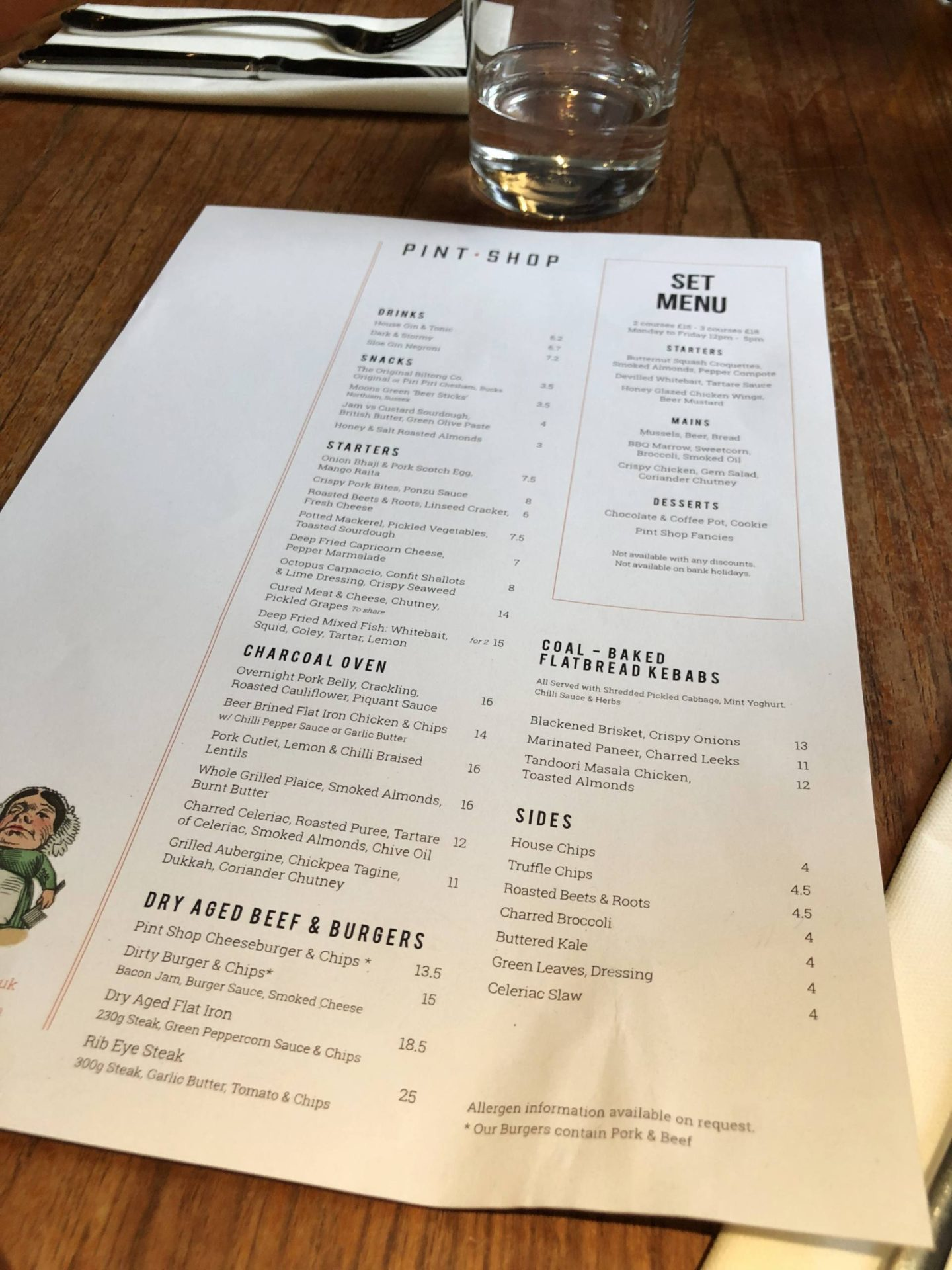 Pint Shop Birmingham Menu