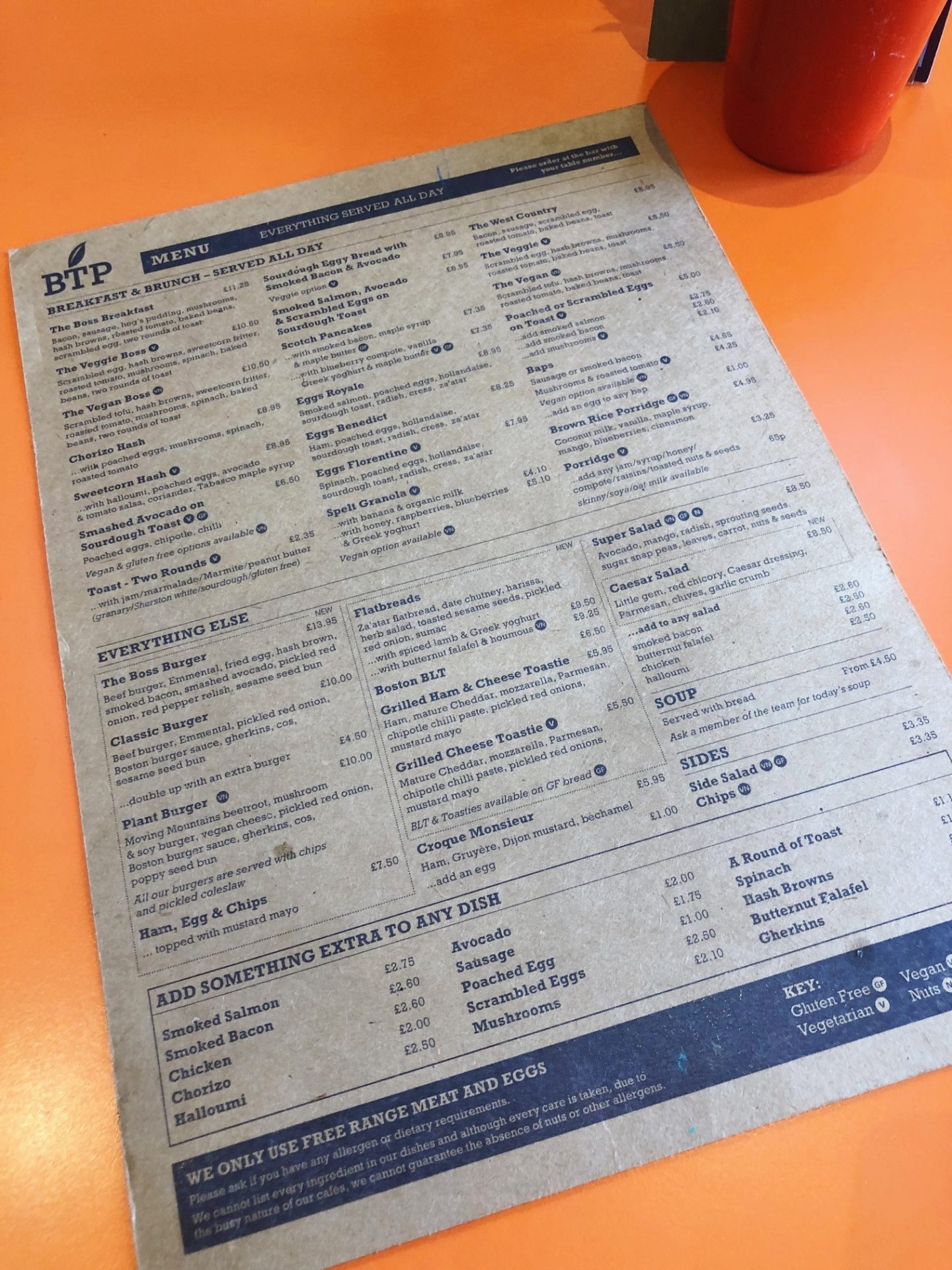 Boston Tea Party Menu