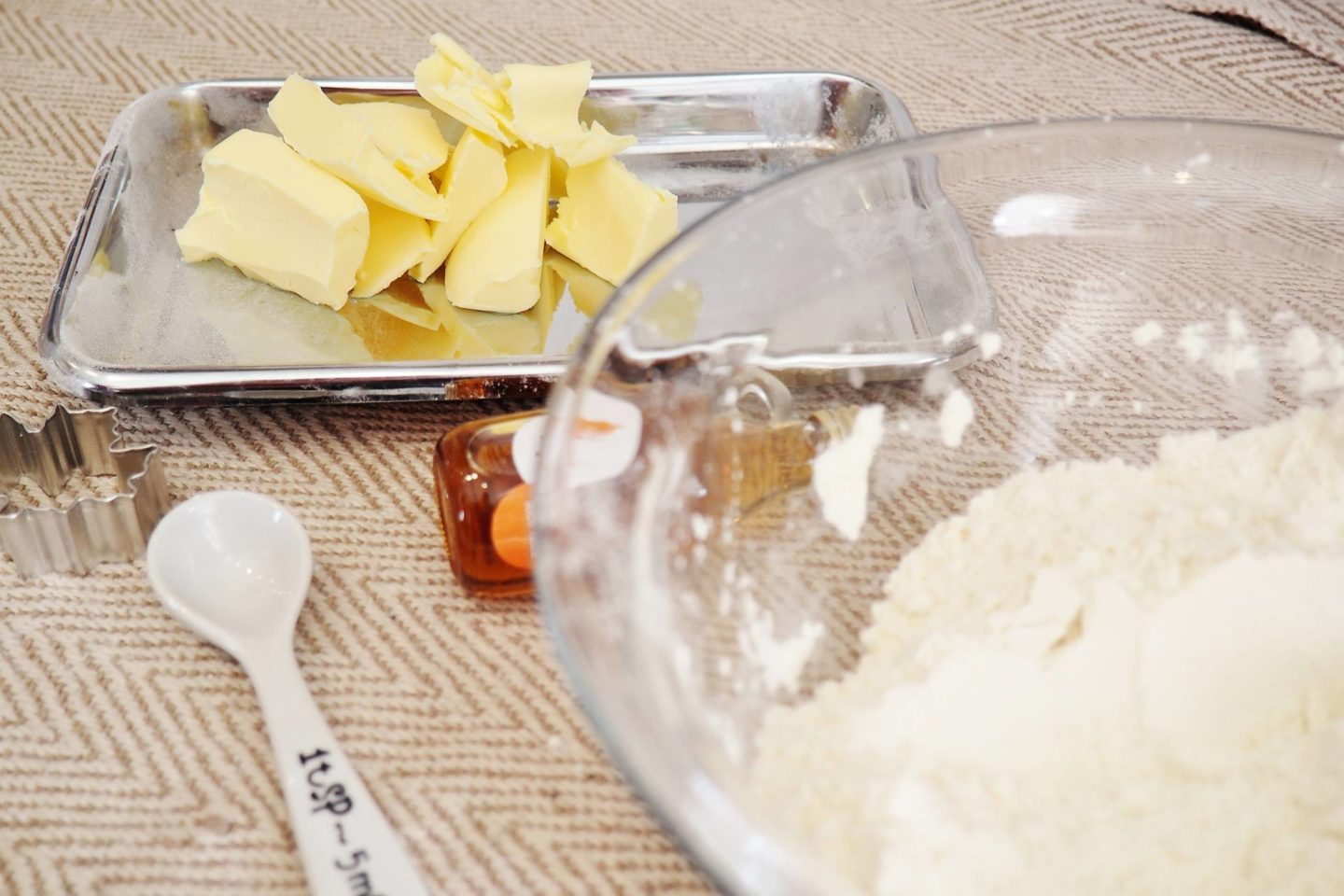butter, pyrex bowl and spoon