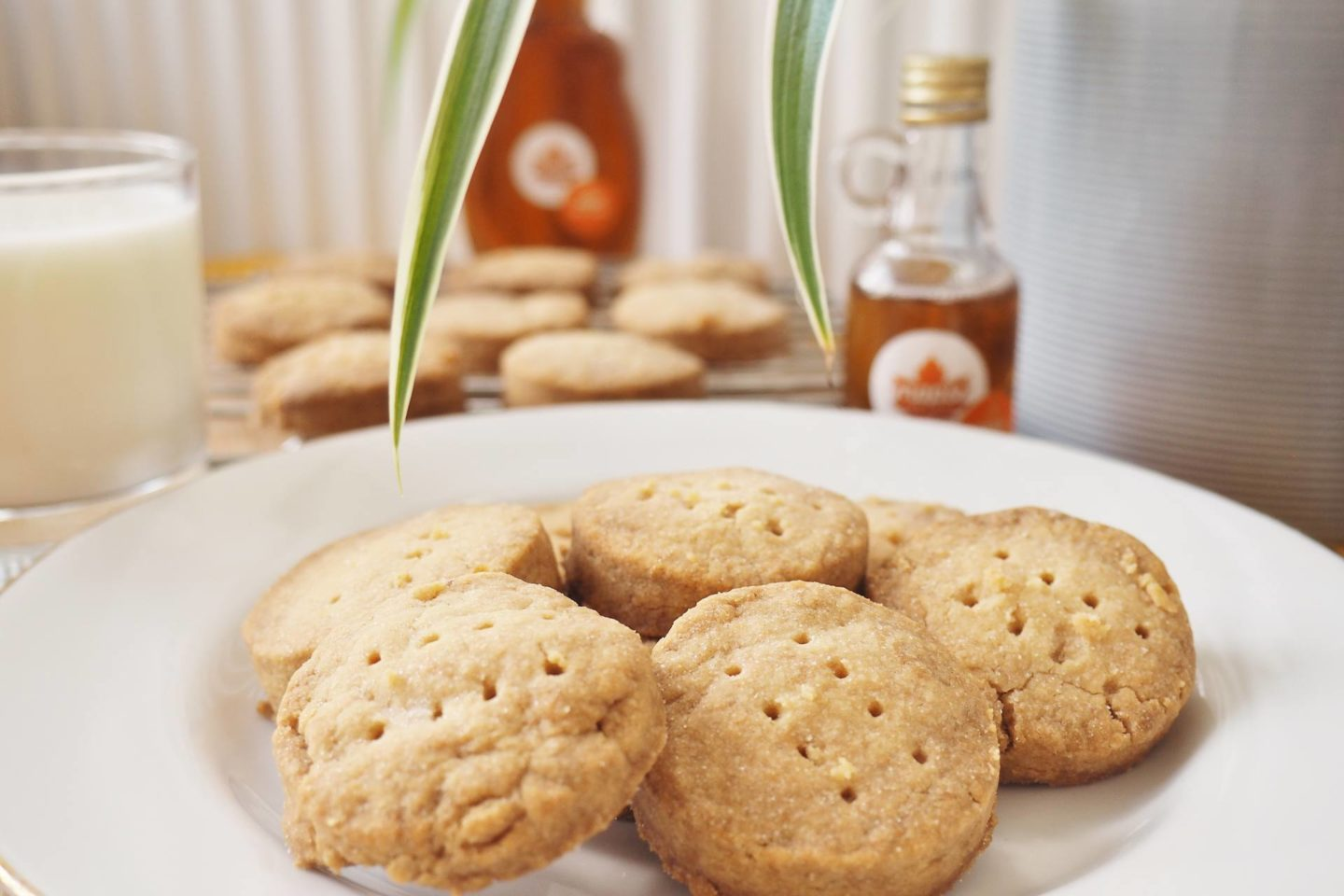 Maple Syrup From Canada Bottle and shortbread biscuits
