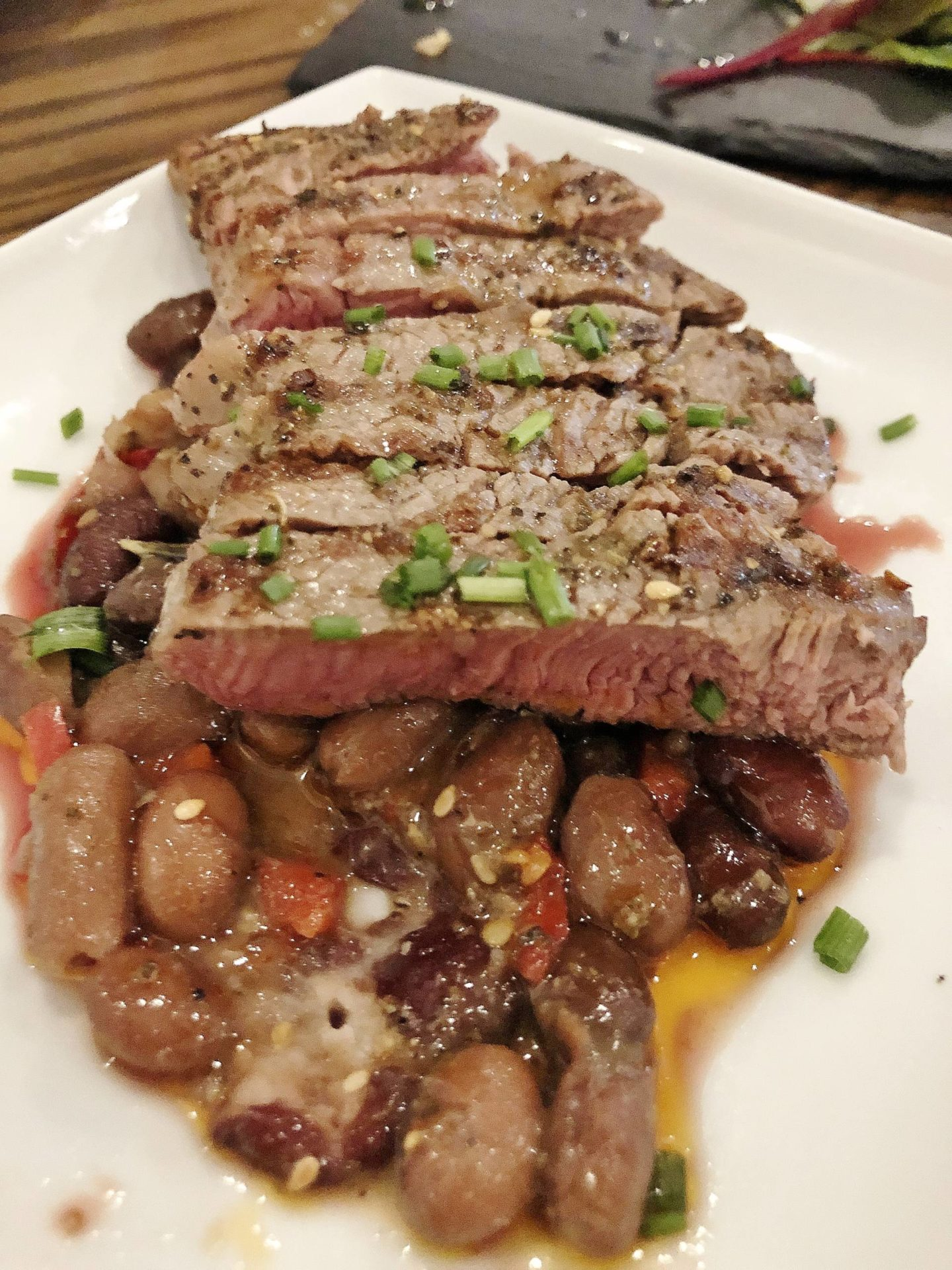 grilled beef with 5 bean salad