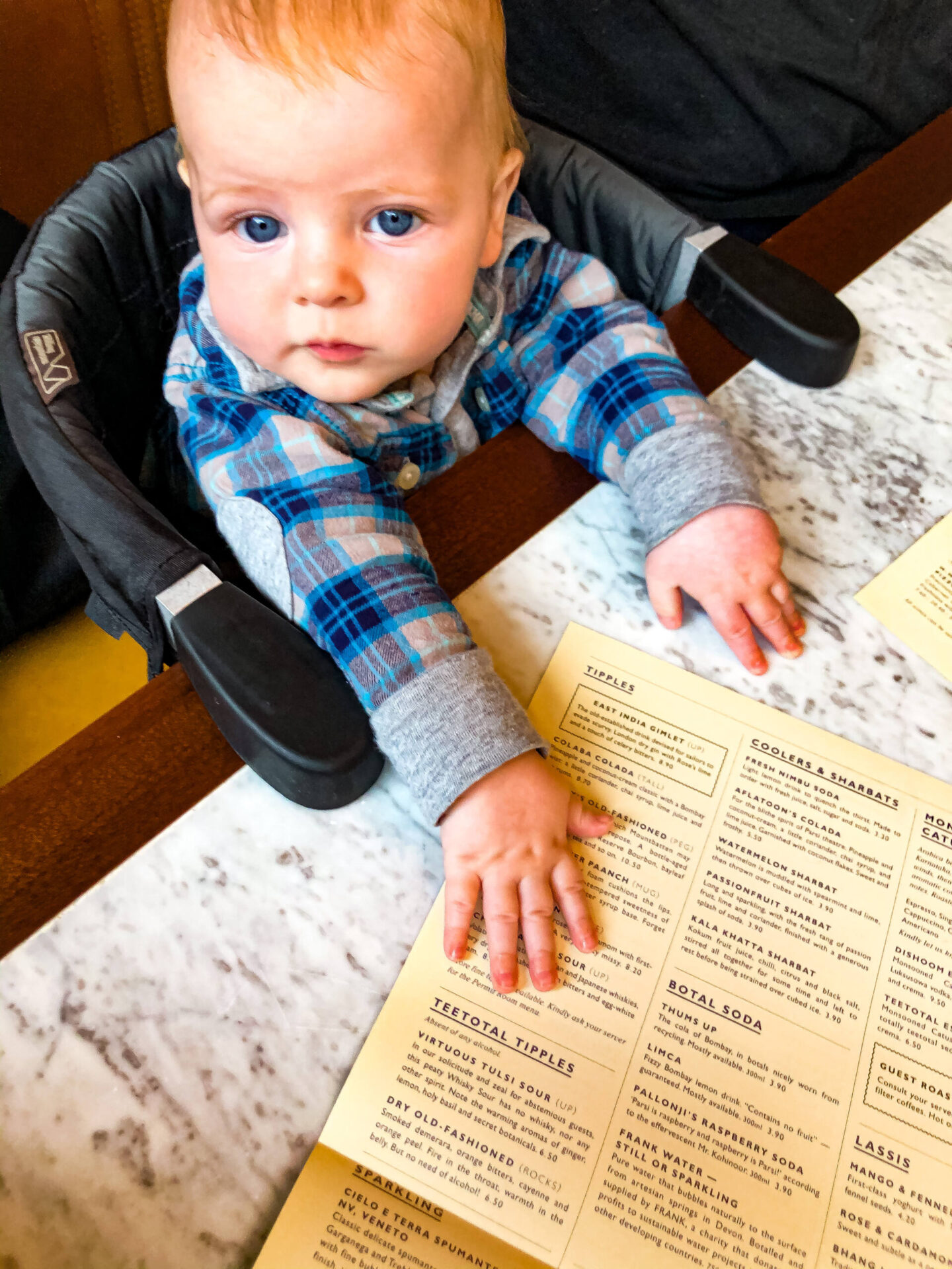 Dishoom Birmingham Family friendly baby booth and table menu