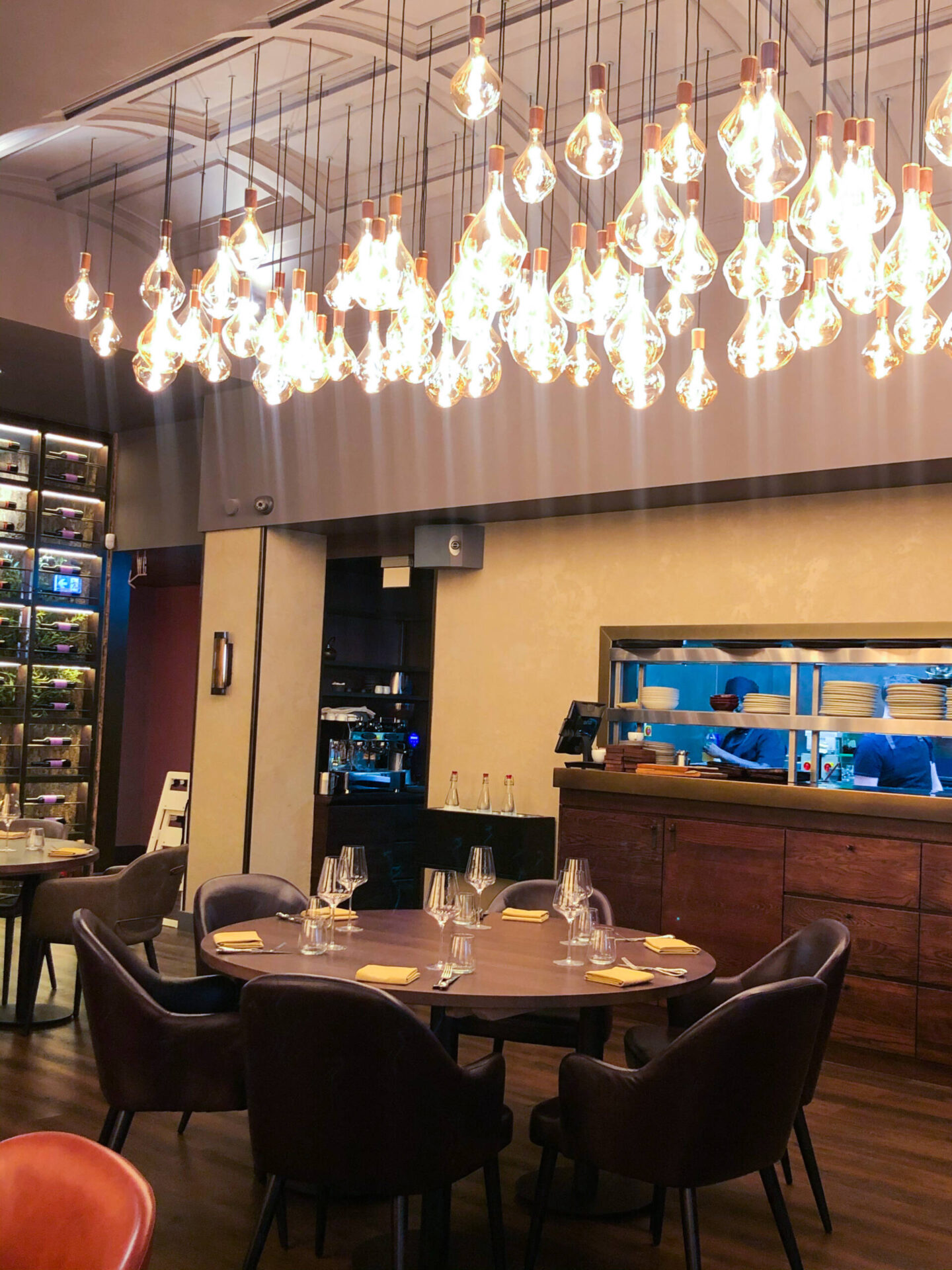 Pulperia tables and hanging lights