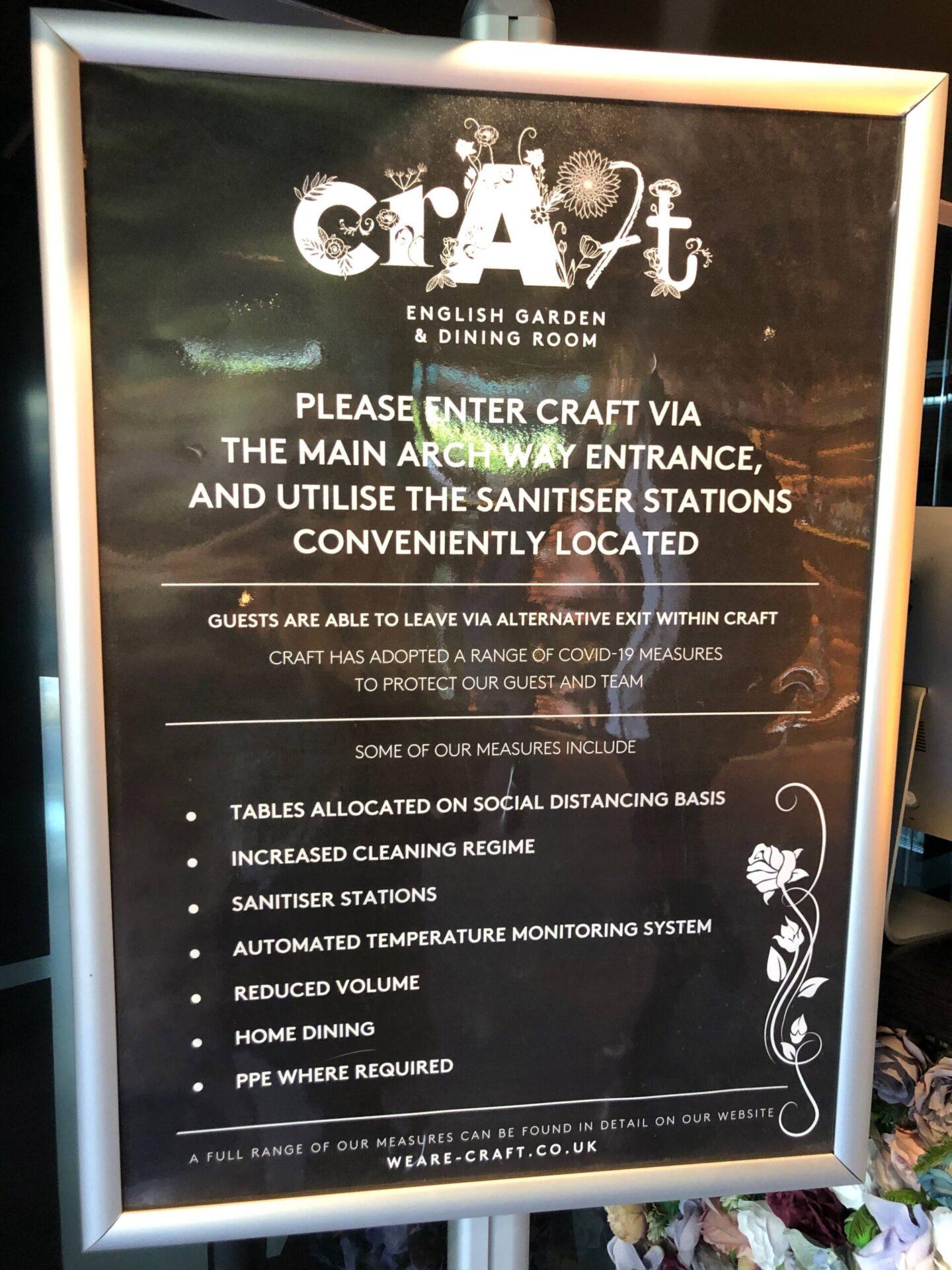 Craft Dining Birmingham Sanitised poster