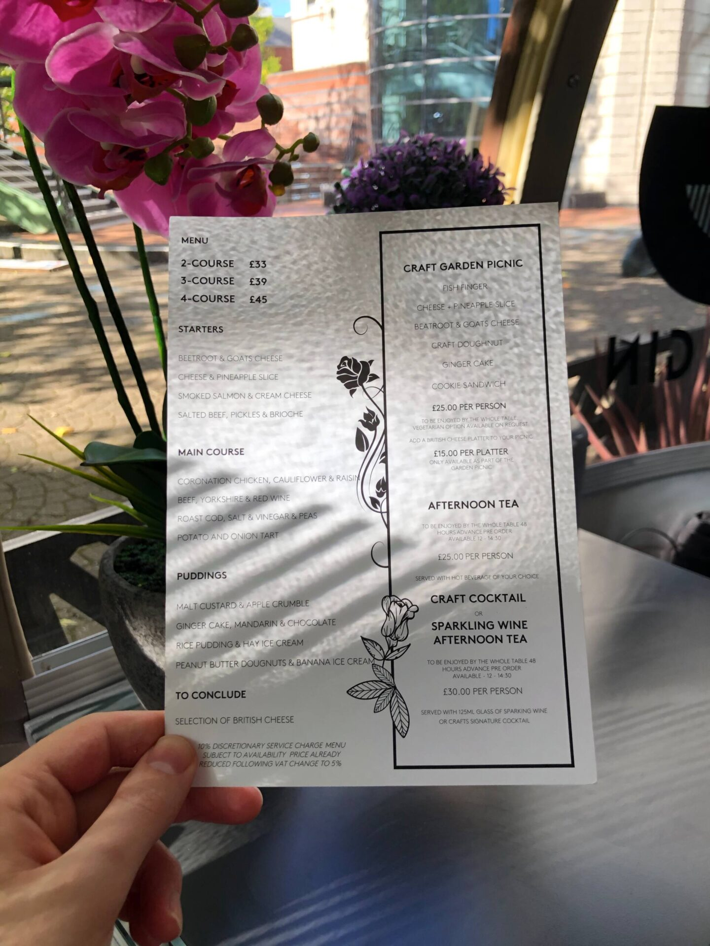 Craft Dining Birmingham menu